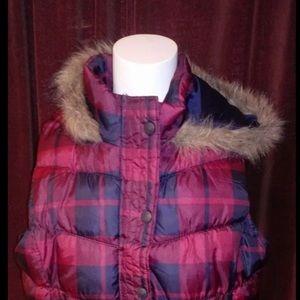 Arizona Jeans Puffer Vest Hood Faux Fur Junior XL